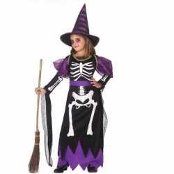 Halloween meisjes heksen kostuum skelet print