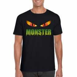Halloween monster ogen t shirt zwart heren