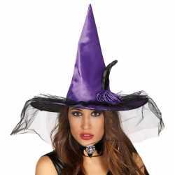Halloween paarse heksenhoed bloem