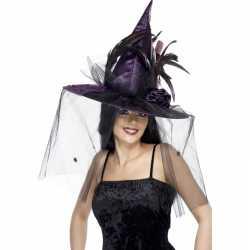 Halloween Paarse heksenhoed sluier
