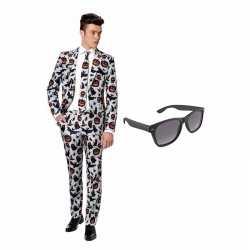Halloween print heren kostuum maat 52 (xl) gratis zonnebril