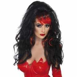 Halloween Pruik zwart rode plukken