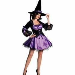 Halloween Sexy heksen jurk paars/zwart