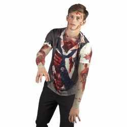 Halloween shirt zombie opdruk heren
