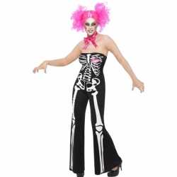 Halloween Skelet jumpsuit dames