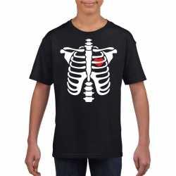 Halloween skelet t shirt zwart kinderen