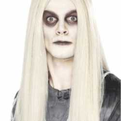 Halloween Spook pruik lang wit haar