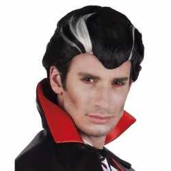 Halloween vampier herenpruik zwart wit