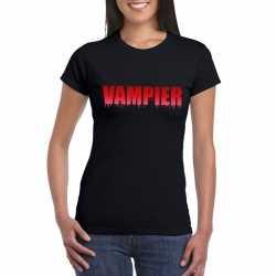 Halloween vampier tekst t shirt zwart dames