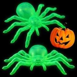 Halloween versiering glow in the dark spinnen 14 2x stuks