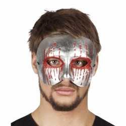 Halloween zilver bebloed oogmasker heren