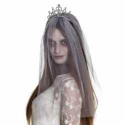 Halloween zilveren kroontje grijze sluier volwassenen
