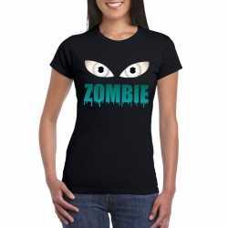 Halloween zombie ogen t shirt zwart dames