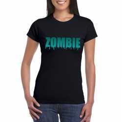 Halloween zombie tekst t shirt zwart dames