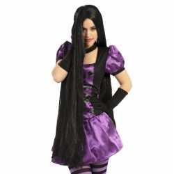 Halloween zwarte damespruik mega lang haar 100