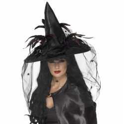 Halloween Zwarte heksenhoed veren sluier