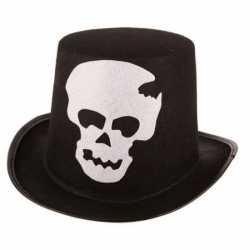 Halloween Zwarte hoge hoed schedel