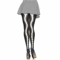 Halloween Zwarte panty ruggengraat print