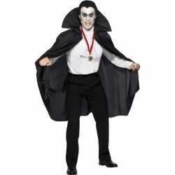 Halloween Zwarte vampier cape volwassen