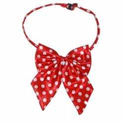 Hals strikje rood witte stippen