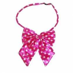 Hals strikje roze witte stippen