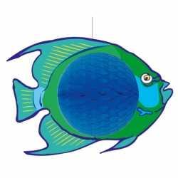 Hangdecoratie blauwe vis 28 bij 40