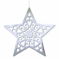Hangdecoratie kerstster zilver 50