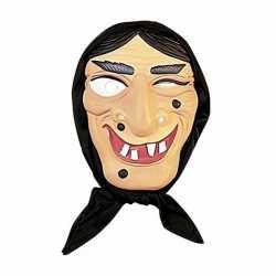 Heksen masker zwart haar hoofddoek
