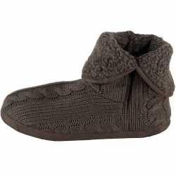 Heren hoge pantoffels/sloffen gebreide kabelprint grijs