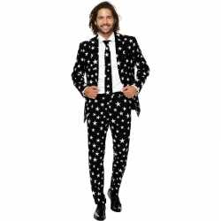 Kostuum Heren.Heren Verkleed Pak Kostuum Zwart Sterren Print