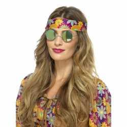 Hippie bril groene spiegelglazen volwassenen