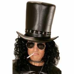 Hoge lederlook rocksterren hoed