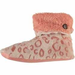 Hoge omslag pantoffels/sloffen luipaard roze dames