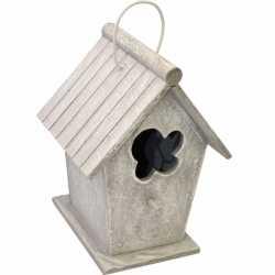 Houten vogelhuisje lichtgrijs 24