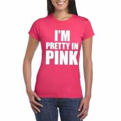 I am pretty in pink shirt roze dames