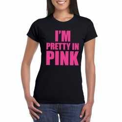 I am pretty in pink shirt zwart dames