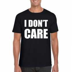 I dont care tekst t shirt zwart heren