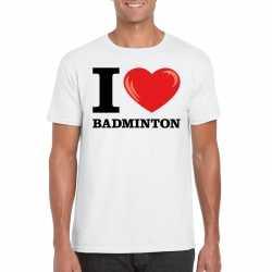 I love badminton t shirt wit heren