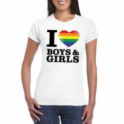 I love boys & girls regenboog t shirt wit dames