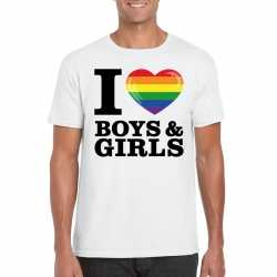 I love boys & girls regenboog t shirt wit heren