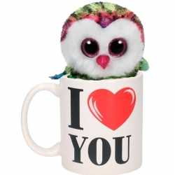 I love you mok gekleurde knuffel uil