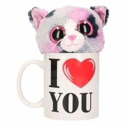 I love you mok knuffel poes/kat gevlekt