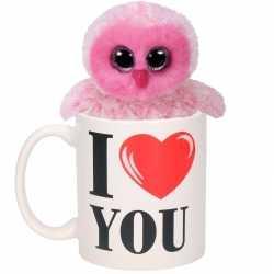I love you mok roze knuffel uil