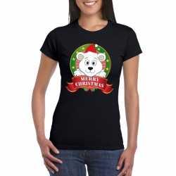 Ijsbeer kerst t shirt zwart merry christmas dames