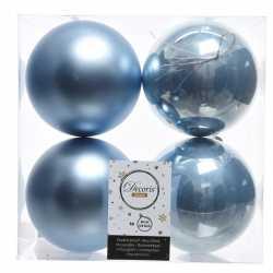 Ijsblauwe kerstversiering kerstballen 8x kunststof 10