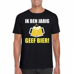 Ik ben jarig geef bier t shirt zwart heren