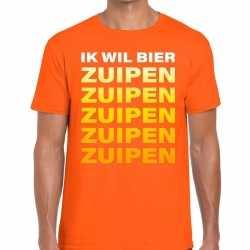 Ik wil bier zuipen tekst t shirt oranje heren