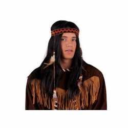 Indianen pruik hoofdband veren