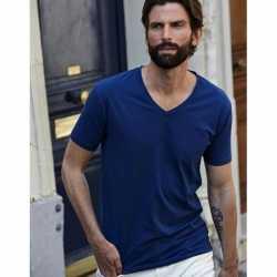 Indigo blauw stretch shirt V-hals