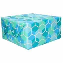Inpakpapier blauw honingraat 70 bij 200